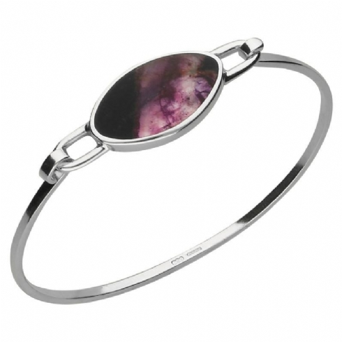 Sterling Silver and Oval Blue John Slim Bangle