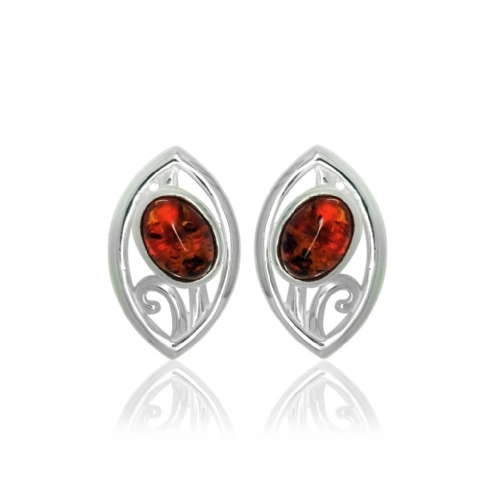 Sterling Silver and Amber Flower Marquise Stud Earrings