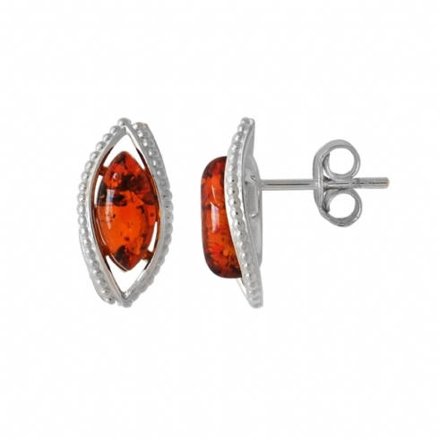 Sterling Silver and Amber Oval Stud Earrings with Twisted Edge