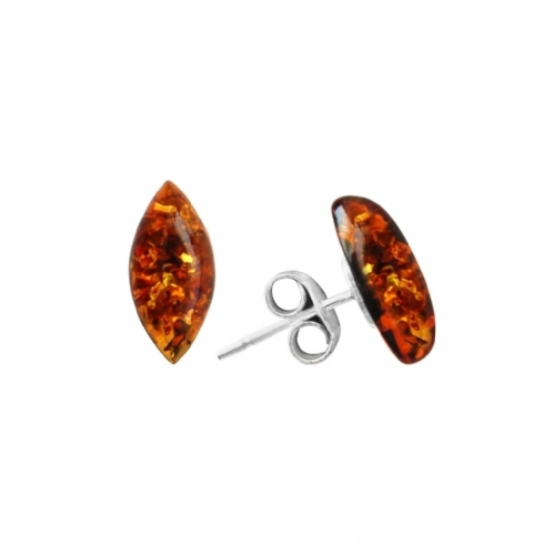 Sterling Silver and Amber Marquise Stud Earrings