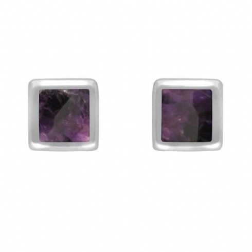 Sterling Silver and Blue John Dinky Square Stud Earrings