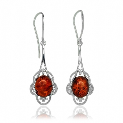 Sterling Silver and Amber Flower Surround Drop Hook Wire Earrings