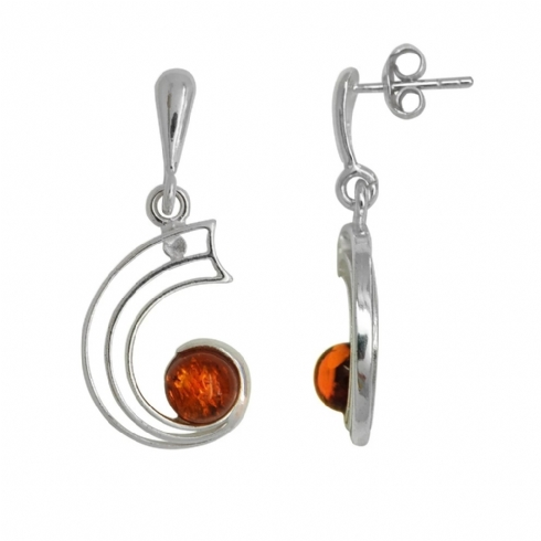 Sterling Silver Amber Drop Curved Earrings