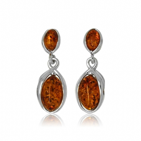 Sterling Silver and Amber Oval Drop Earrings