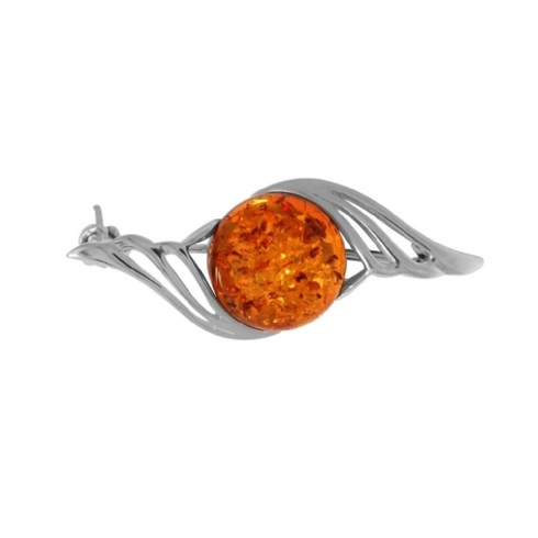Sterling Silver and Amber Curve Brooch