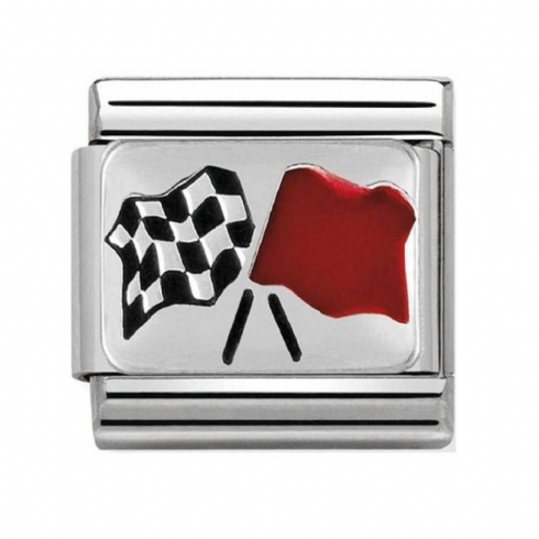 Nomination Stainless Steel and Sterling Silver Chequered Flag Charm 330208/16