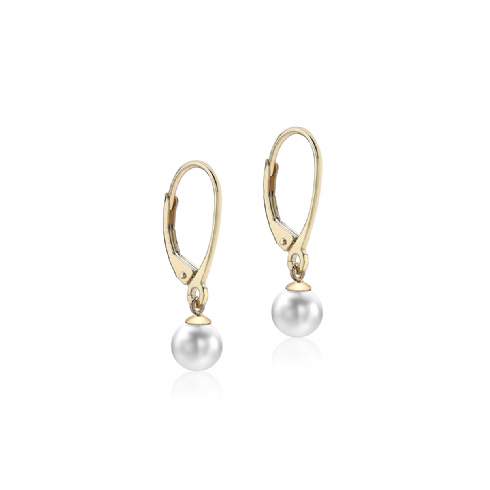 9ct Yellow Gold 6mm Pearl Drop Earrings
