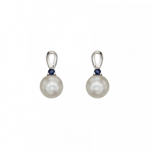 9ct White Gold Cultured Pearl Drop Earrings with Blue Sapphire