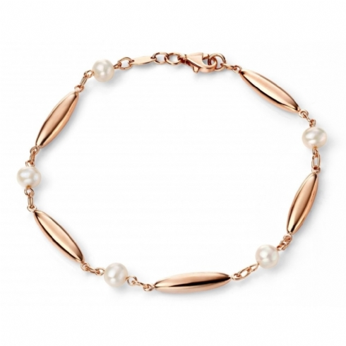 9ct Rose Gold and White Pearl 19cm Bracelet