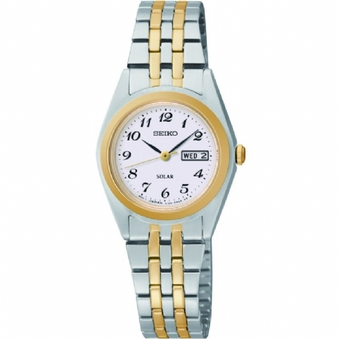 Seiko Womens Classic Solar Powered Watch with Stainless Steel and Yellow Vermeil Bracelet SUT116P9