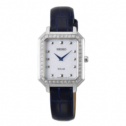 Seiko Ladies Rectangular Leather Strap Watch with Swarovski Crystals SUP429P1