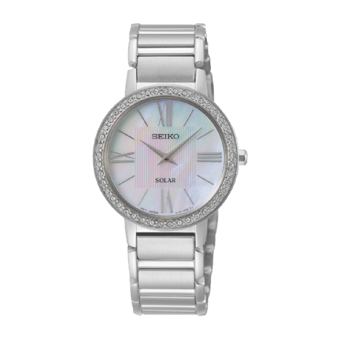 Seiko Ladies Solar Powered Mother of Pearl Bracelet Watch with Swarovski Crystal Set Bezel SUP431P1