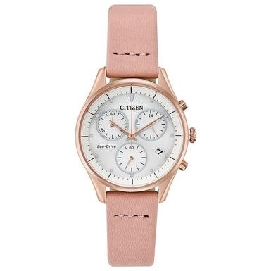 Citizen Ladies Mother of Pearl Chronograph with Pink Leather Strap FB1443-08A