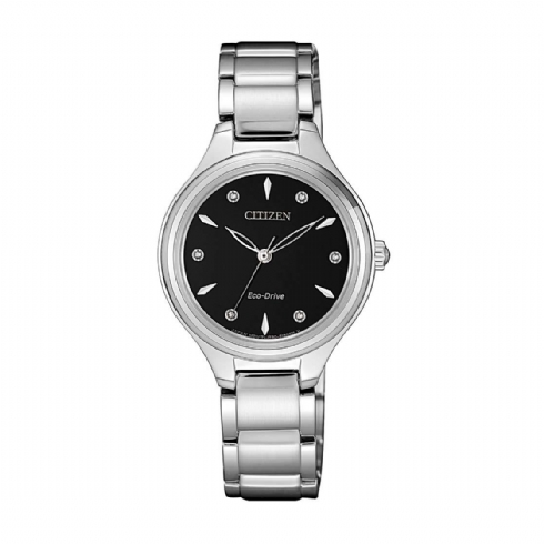 Citizen Ladies Eco-Drive Black Diamond Dot Dial Stainless Steel Bracelet Watch FE2100/51E