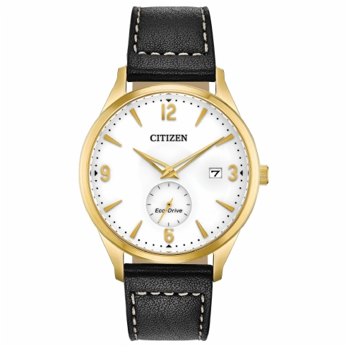 Citizen Gent's Yellow Vermeil Eco-Drive with Black Leather Strap BV1112/05A
