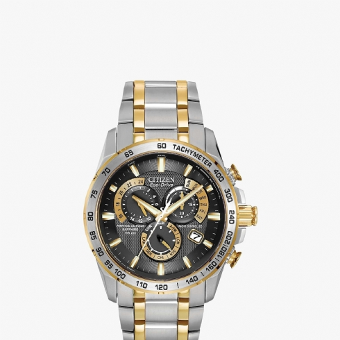 Citizen Men's Radio Controlled Eco-Drive Perpetual Two-Tone Bracelet Watch AT4004/52E