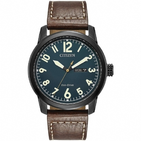 Citizen Gent's Eco-Drive Watch with Brown Leather Strap and Day/Date Window BM8478-01L