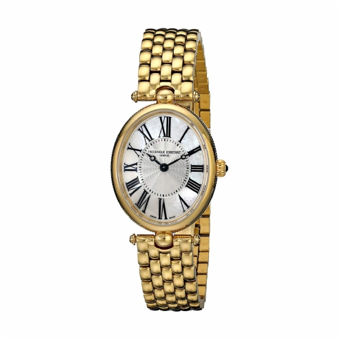 Frederique Constant Oval Deco Stainless Steel Yellow Vermeil Ladies Bracelet Watch FC-200MPW2V5B