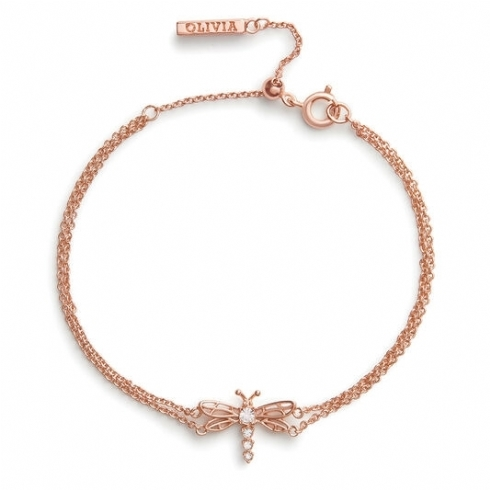 Olivia Burton Silver Rose Plated Dancing Dragonfly Chain Bracelet OBJAMB104