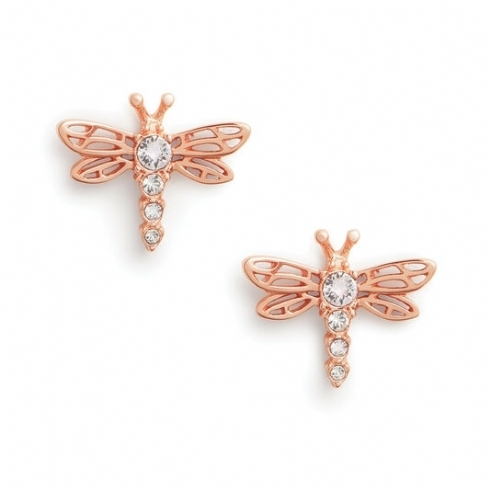 Olivia Burton Dancing Dragonfly Rose Tone Stud Earrings with Swarovski Crystals OBJAME146