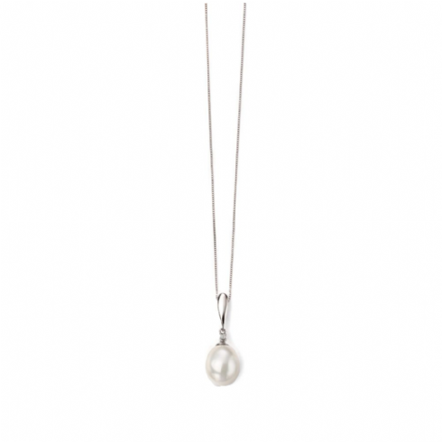 9ct White Gold Tear Drop Pearl and Diamond Pendant ONLY