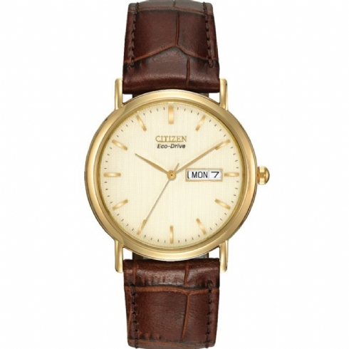 Citizen Gent's Yellow Vermeil Leather Strap Watch with Day/Date Window BM8242/08P