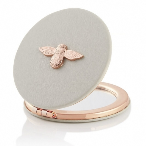 Olivia Burton 3D Bee Grey and Rose Plate Compact Mirror OBACS50
