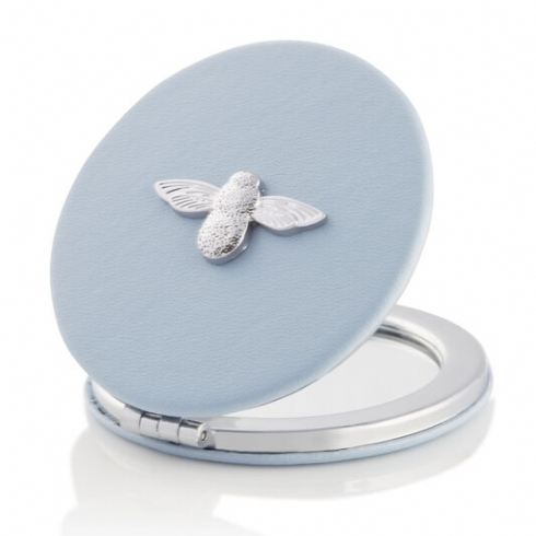 Olivia Burton 3D Bee Chalk Blue and Silver Plate Compact Mirror OBACS51
