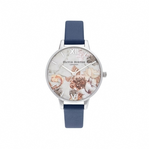Olivia Burton Marble Florals Dial with Navy Leather Strap OB16CS33