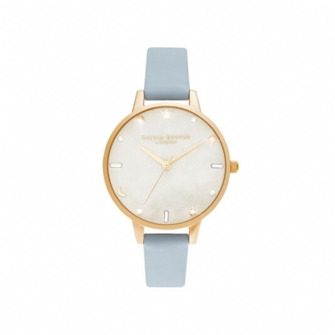 Olivia Burton Celestial Chalk Blue & Pale Gold Leather Strap Watch OB16GD31