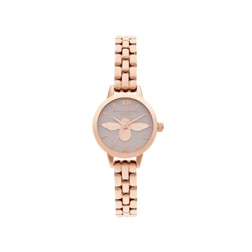 Olivia Burton Mini 3D Bee Dial with Blush Dial and Rose Plate Bracelet Watch OB16MC53