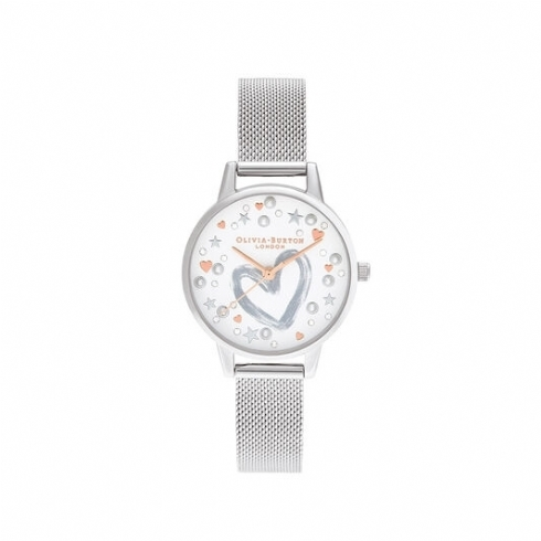 Olivia Burton Stainless Steel You Have My Heart Watch with Rose Vermeil Markers OB16LH12