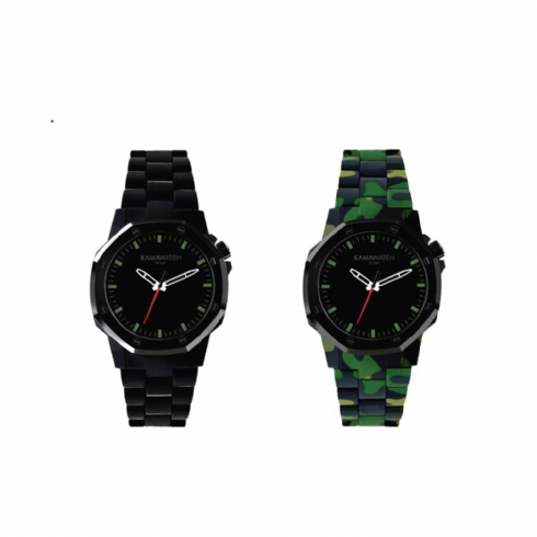 Kama Watch Vintage Dynamo Black and Green Camo Colour Changing Watch KWP21
