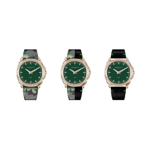 Kama Watch Royal Green Colour Changing Leather Strap Watch KWPM35