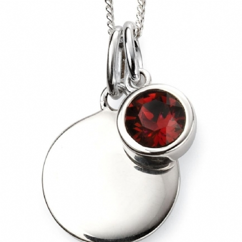 Sterling Silver Crystal January Birthstone Pendant and Chain