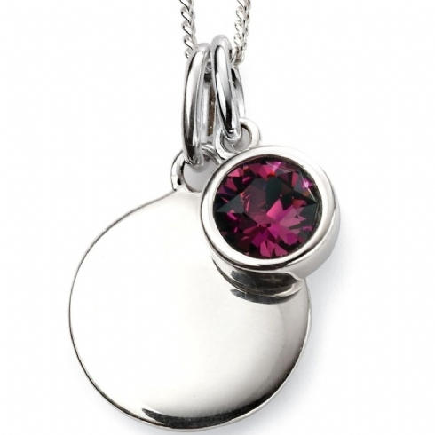 Sterling Silver Crystal February Birthstone Pendant and Chain