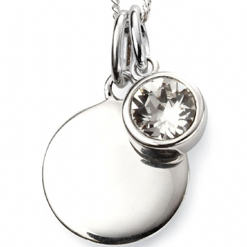 Sterling Silver Clear Crystal April Birthstone Pendant and Chain