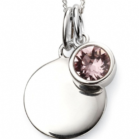 Sterling Silver Crystal June Birthstone Pendant and Chain