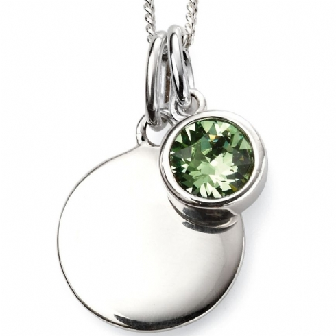 Sterling Silver Crystal August Birthstone Pendant and Chain