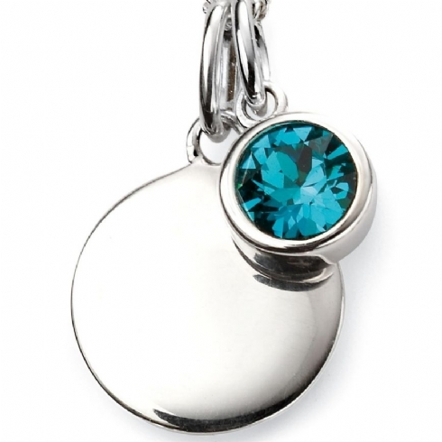Sterling Silver Crystal December Birthstone Pendant and Chain