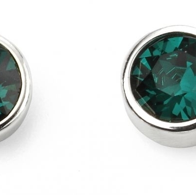 Sterling Silver Crystal May Birthstone Stud Earrings