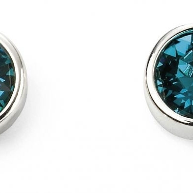Sterling Silver Crystal December Birthstone Stud Earrings