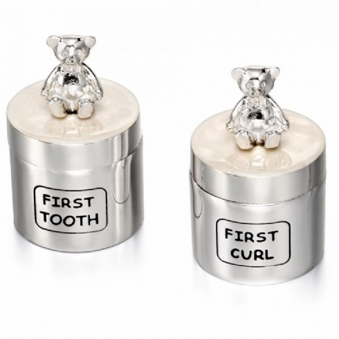 Silver Plated First Tooth and First Curl Teddy Bear Keepsake Boxes