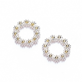 Daisy Iota Circle Stud Earrings