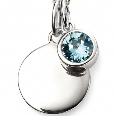 Sterling Silver Crystal March Birthstone Pendant and Chain