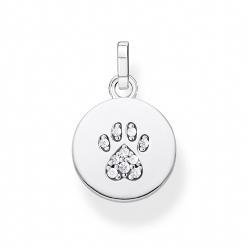 Thomas Sabo Sterling Silver Cubic Zirconia Paw Print Pendant PE882