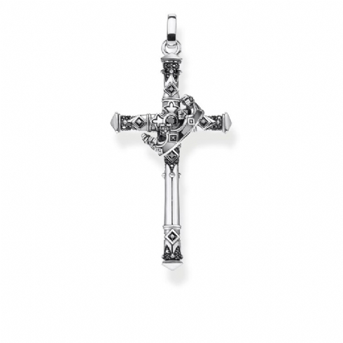 Thomas Sabo Sterling Silver Rebel Cross and Crown with Black Cubic Zirconia PE886