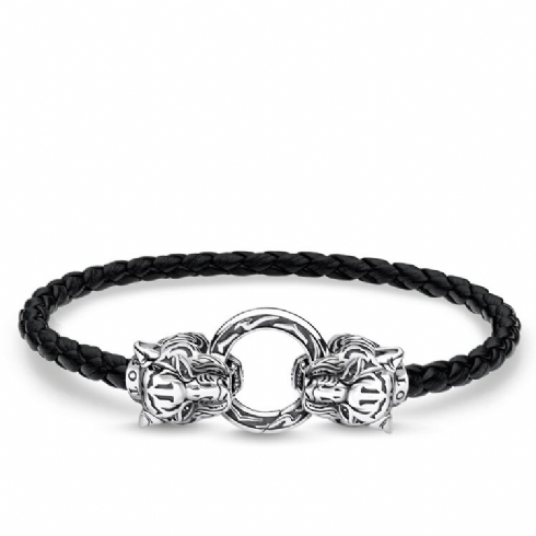 Thomas Sabo Rebel Black Leather Tiger Bracelet A1938