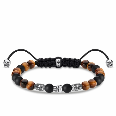 Thomas Sabo Rebel Black Obsidian and Tiger's Eye Pull Tie Skull Bracelet A1946