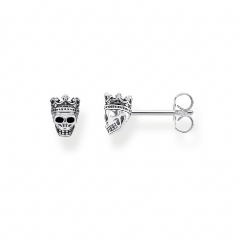Thomas Sabo Sterling Silver King Skull Stud Earrings H2111